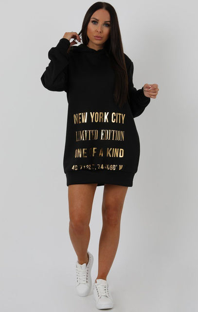 Black Graphic Gold Print Sweater Dress - Charley