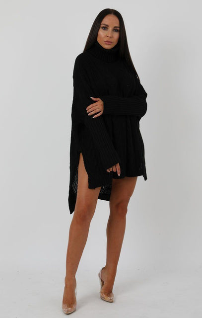 Black Chunky Cable Knit Split Side Jumper Dress - Kacey