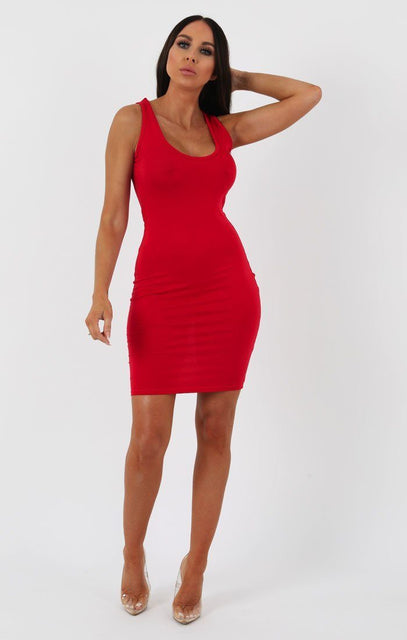 Red Scoop Neck Bodycon Dress - Alex