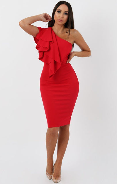 Red Frill Overlay Bodycon Midi Dress - Piper