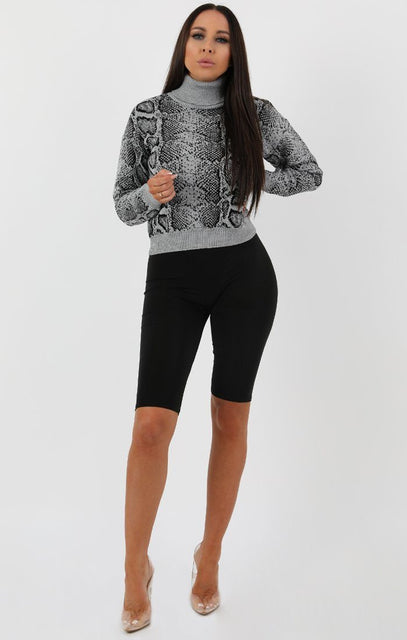Grey Animal Snake Print Crop Knit Jumper - Anatasia