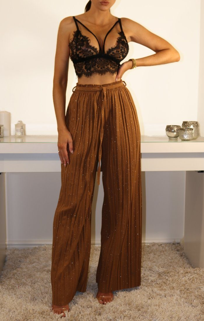 Rust Glitter Pleated High Waist Trousers