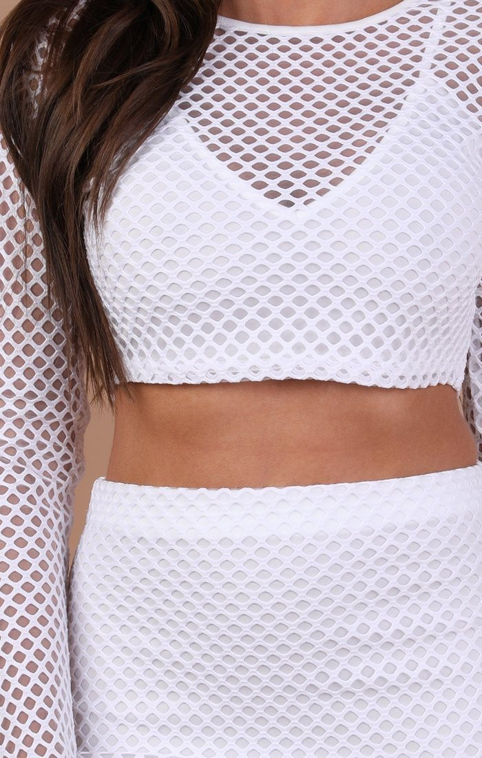 White Mesh Fishnet Two Piece Co-ord Set – Amber