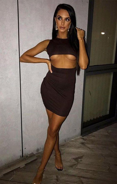 Brown Underboob Cut Out Bodycon Dress - Briana
