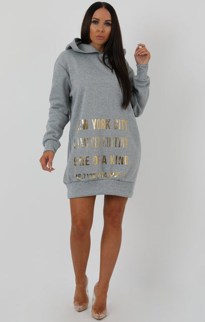 Grey Graphic Gold Print Sweater Dress - Charley