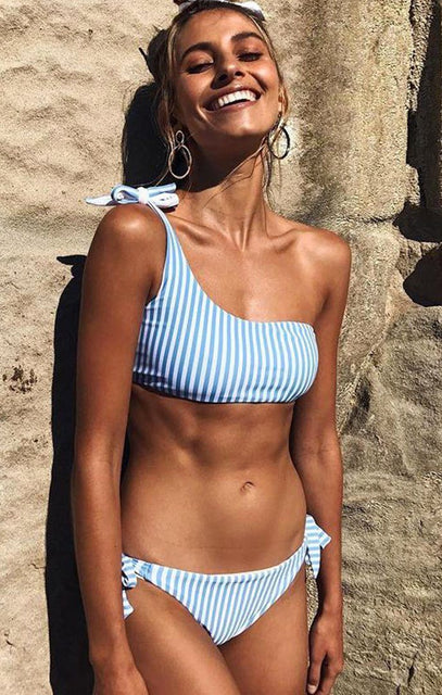 Blue Striped One Shoulder Bikini Top - Sarocha
