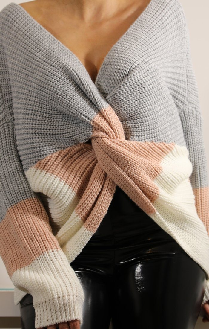 Grey Striped Front Wrap Knitted Jumper