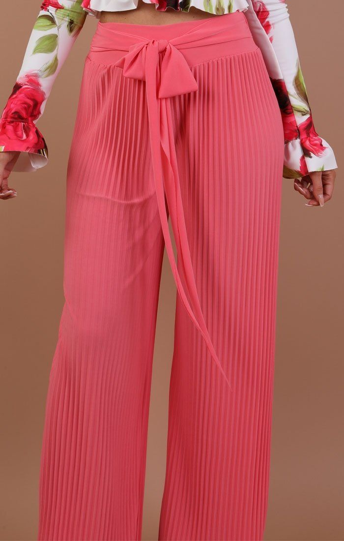 Pink Pleated Wide Leg Trousers - Lucille