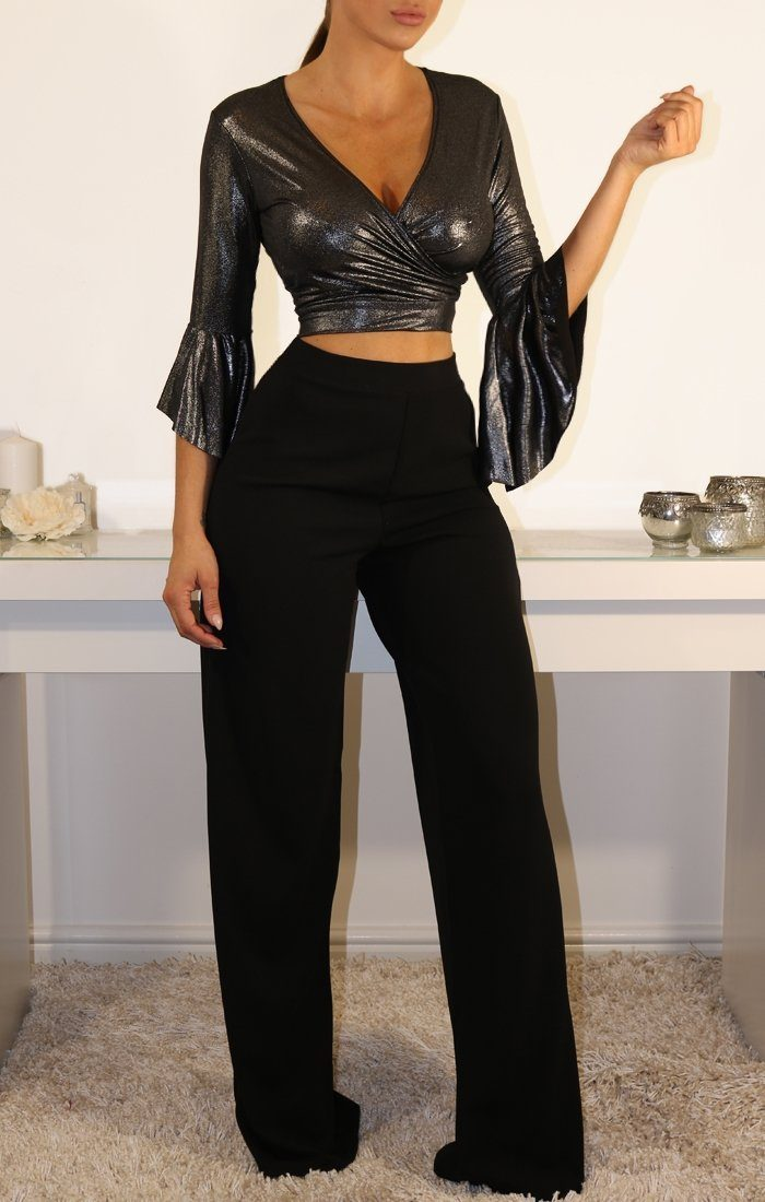 Black Metallic Plunge Bell Sleeve Crop Top