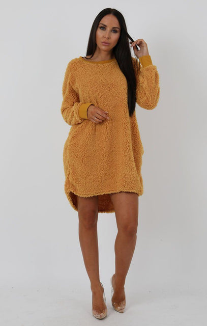 Mustard Teddy Oversized Jumper Dress - Taliana