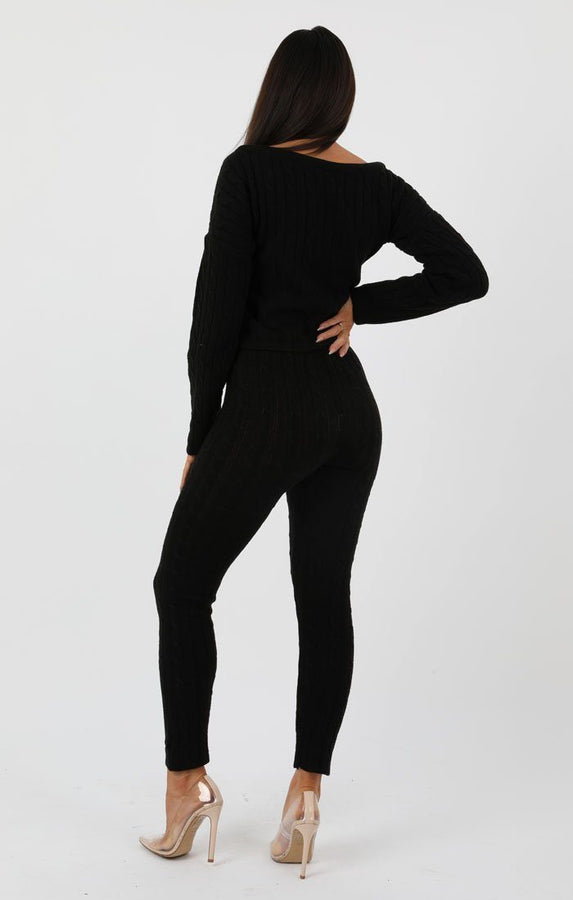 Black-Cable-Knit-Loungewear-Set