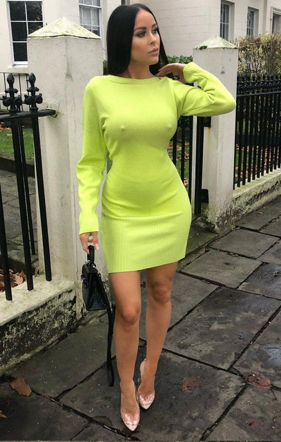 Lime Ribbed Knit Bodycon Dress - Tasha