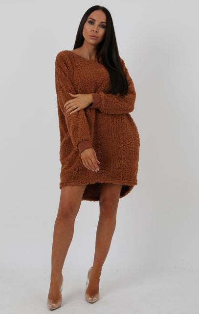 Brown Teddy Oversized Jumper Dress - Taliana