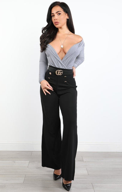 Grey Slim Fit Plunge Bodysuit - Maisy
