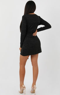 Charcoal Knit Tie Long Sleeve Dress