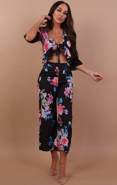Black Floral High Waist Cropped Trousers - Paisley