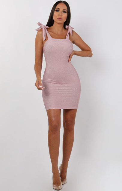Pink Glitter Tie Shoulder Mini Dress - Hollie