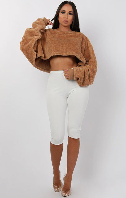 Camel Fluffy Cropped Batwing Oversized Jumper - Mya