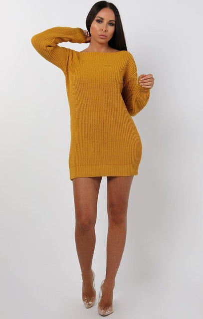 Mustard Bodycon Long Sleeve Jumper Dress - Cara