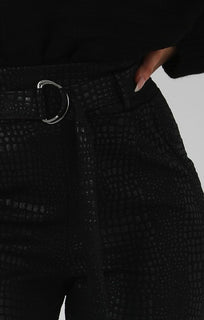 Black-Animal-Crocodile-Print-Cigarette-Trousers-with-Belt-Kim