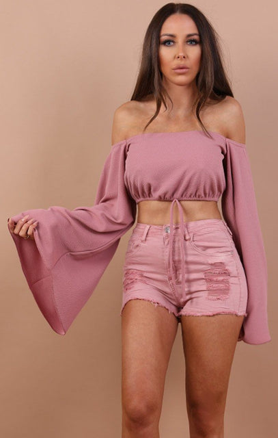 Pink Denim Distressed Shorts - Felicity