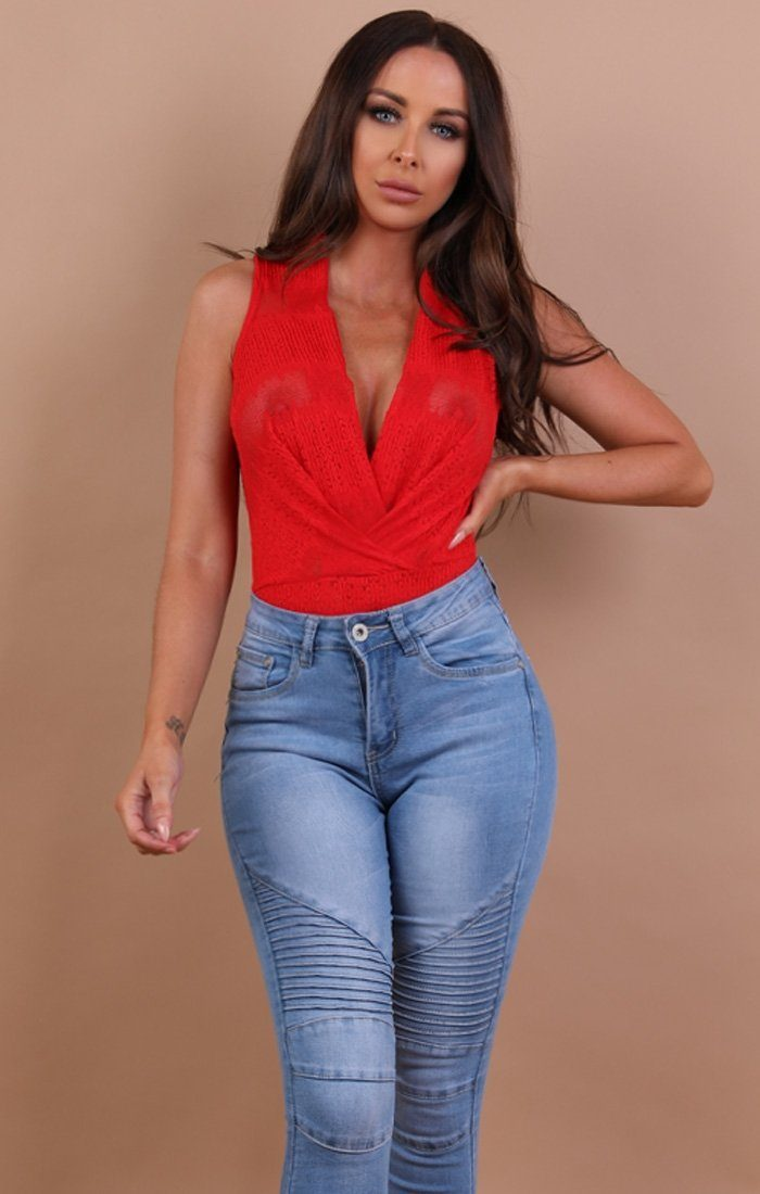 Red Lace Wrap Bodysuit - Fay