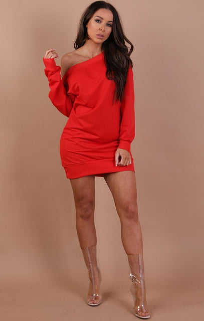 Red Off The Shoulder Jumper Dress - Hollie