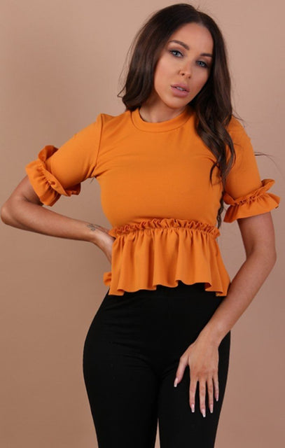 Mustard Frill Detail Top - Faith