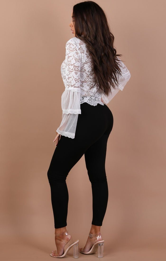White Floral Lace Bell Sleeve Top - Hayden