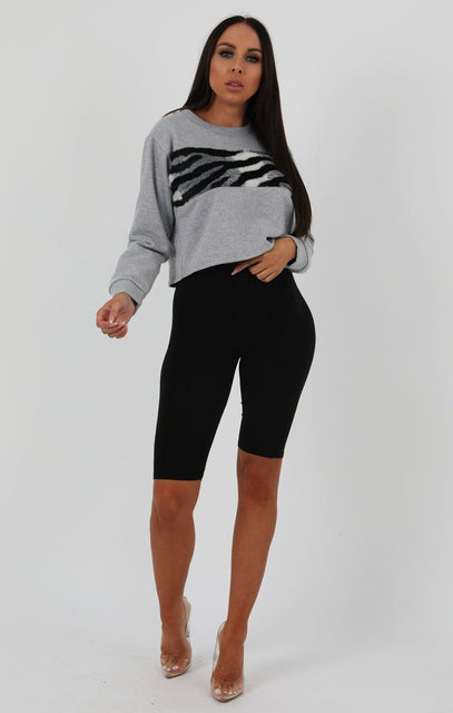 Grey Animal Zebra Print Jersey Jumper - Terrie