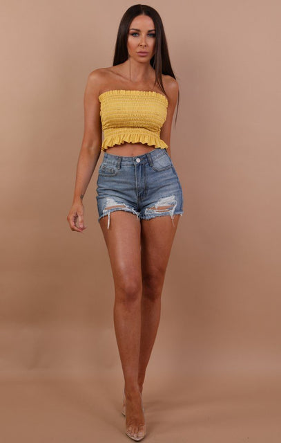 Yellow Ruched Bandeau Crop Top - Cadence