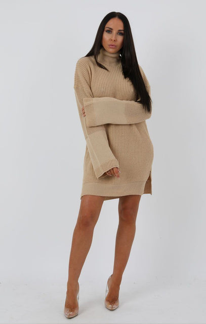 Stone Knit High Neck Oversized Jumper Dress - Eliana