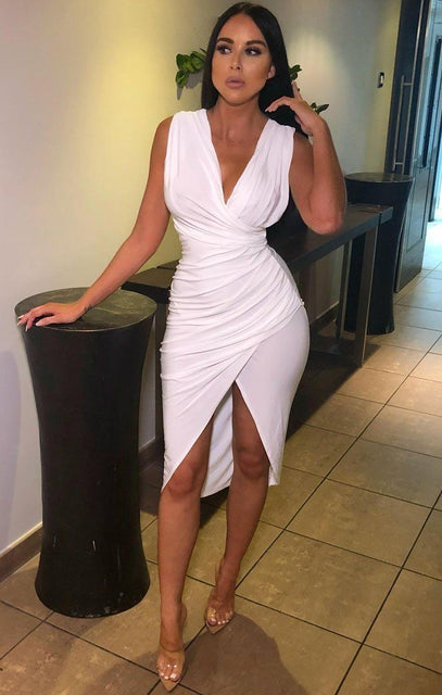 White Cowl Neck Wrap Dress - Kimberly