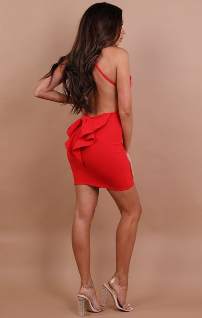 Red Bow Back Bodycon Mini Dress - Alisha
