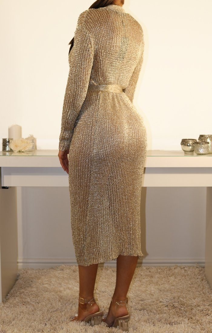 Metallic Knit Gold Tie Waist Wrap Midi Dress