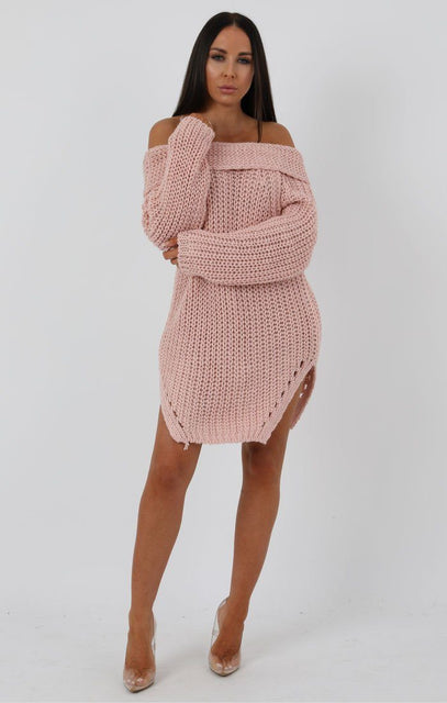 Rose Chunky Knit Side Split Bardot Midi Dress - Gina