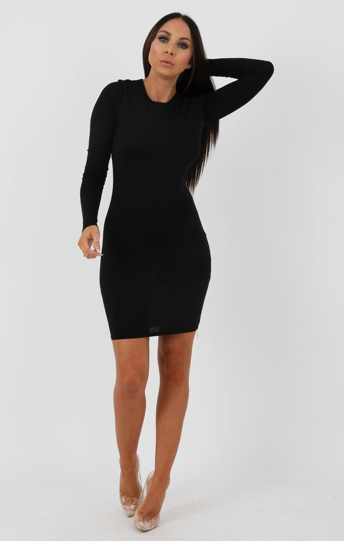 Black Long Sleeve Bodycon Dress - Michelle