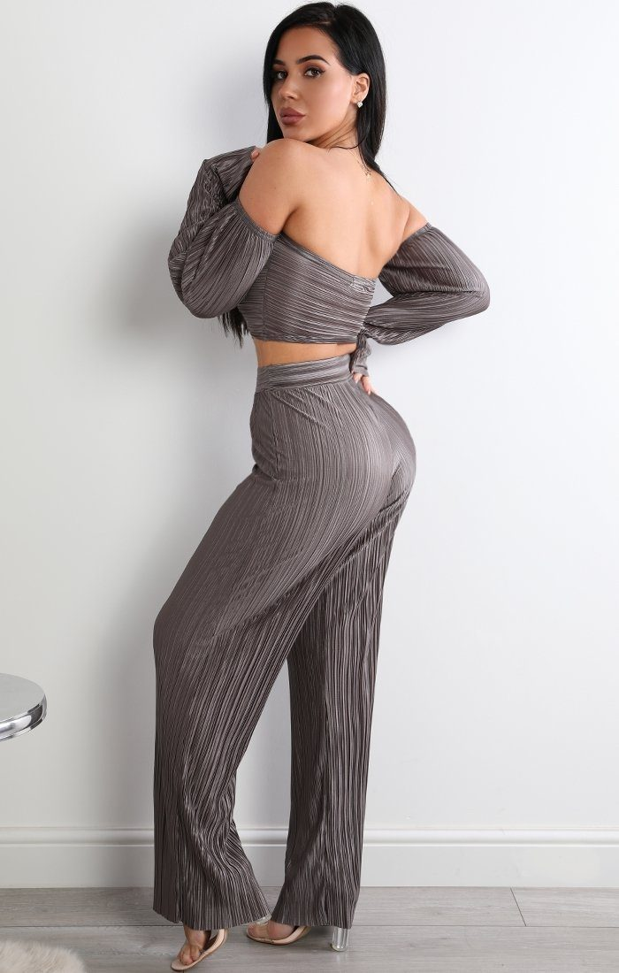 Grey Pleated Two Piece Co-ord Set