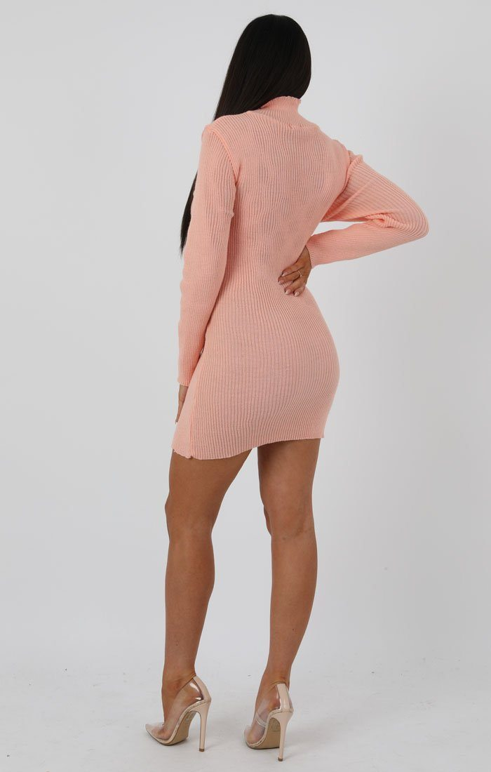 Apricot High Neck Bodycon Jumper Dress - Esmelia