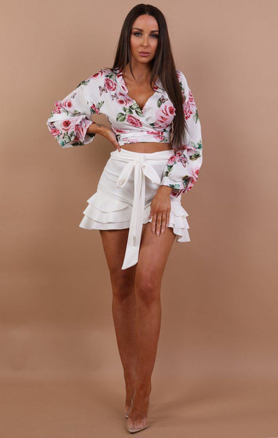 White Ruched Sleeve Floral Wrap Crop Top - Addie