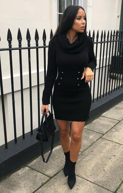 Black Extreme Turtle Neck Knit Bodycon Dress - Amalie