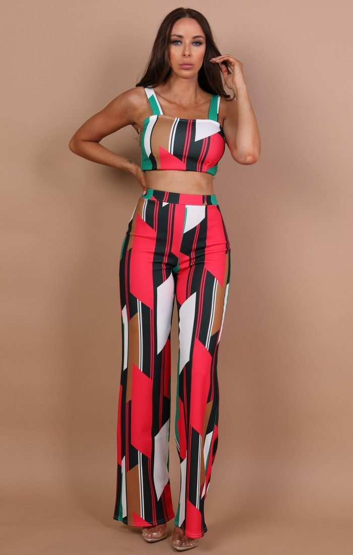 Green Contrast Two Piece Co-ord Set - Tara