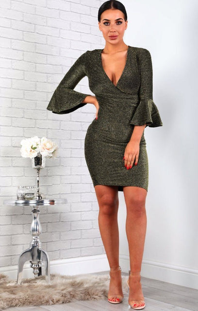 Gold Bell Sleeve Bodycon Mini Dress