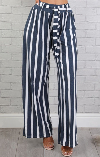 Blue & White High Waist Stripe Wide Leg Trousers - Lia