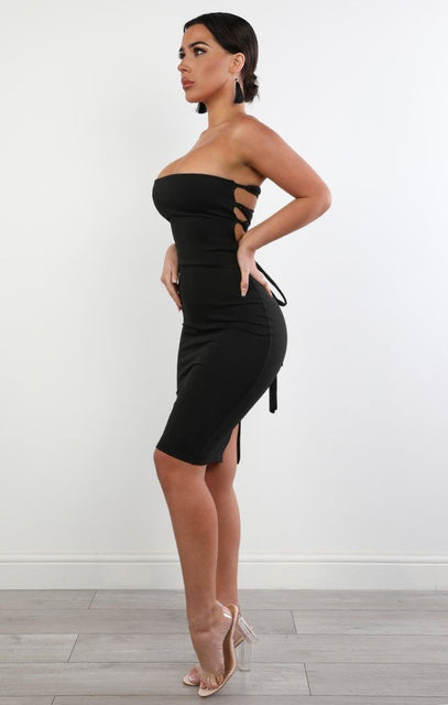 Black Lace Up Bandaeu Bodycon Dress - Claudia