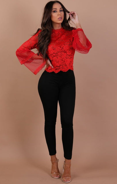 Red Floral Lace Bell Sleeve Top – Hayden