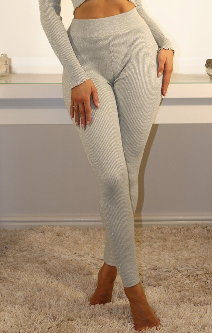 Grey Sparkle Ribbed Leggings
