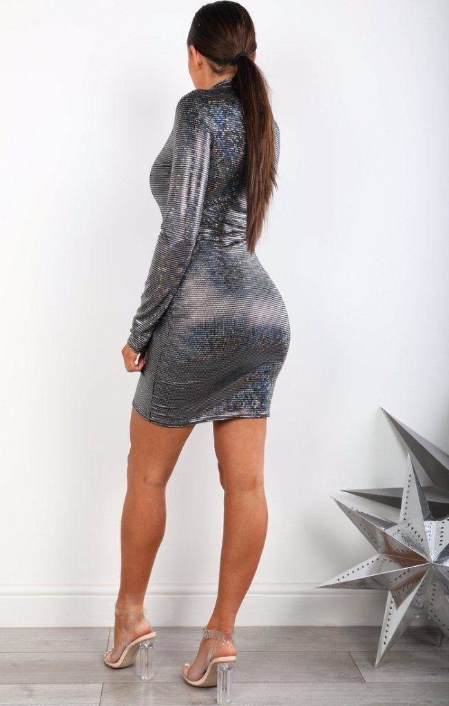Black Metallic High Neck Bodycon Dress