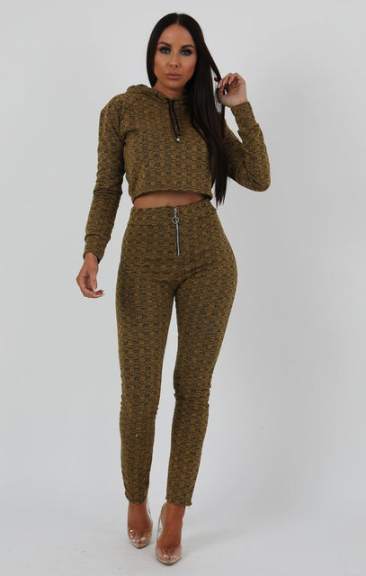 Mustard Black Crop Zip Loungewear Set - Sonia