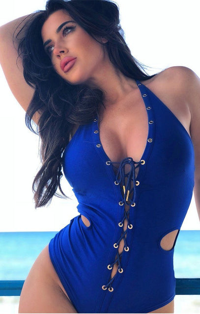 Blue Halter Neck Lace Up Bodysuit